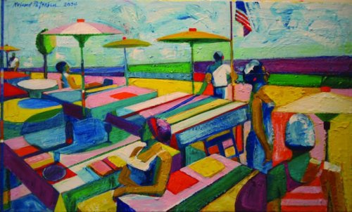 """Picnic with 6 figures and flag"", by Roland Petersen (2004)"