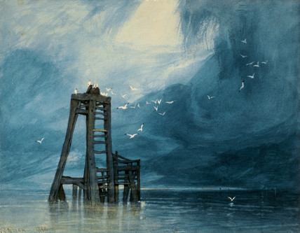 """Study of Sea and Gulls"", by John Sell Cotman (1832)"